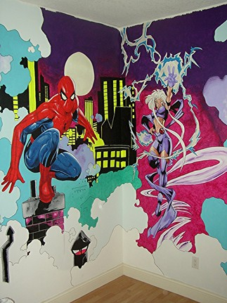 Spidey And X Men Mural